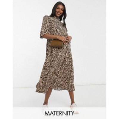 ニュールック New Look Maternity レディース ワンピース ミドル丈 ワンピース・ドレス Frill Detail Midi Dress In Animal Print ブラウ