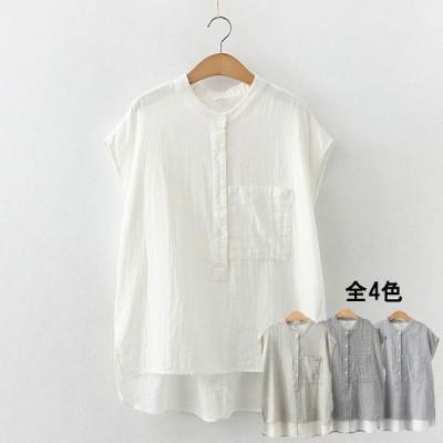 レデイース シャツ ブラウス ミドル丈 トップス 半袖 綿100% スーツ 柔らか コットン 通気性 やさしいシャツ インナー ワイシャツ 春物 肌触りいい  涼しい