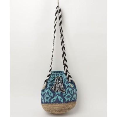 ショルダーバッグ バッグ 手編みコットンxへンプジャカードバッグ