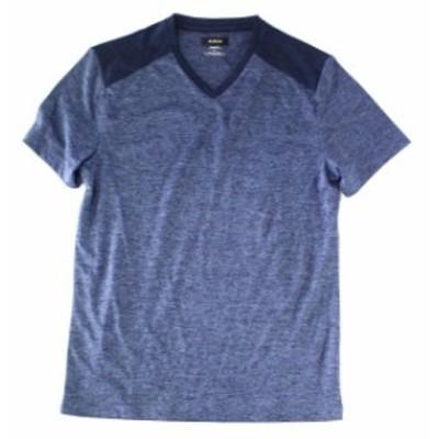 Activewear  ファッション トップス Alfani Mens Dark Blue Size Small S Two Tone Activewear Short Sleeve