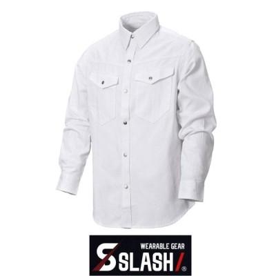 SLASH 長袖シャツ 刺し子 綿100% M〜3L かんたん刺繍申込み 白 シンメン 99013 かっこいい おしゃれ 安い 作業服 作業着 鳶 刺子