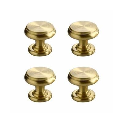 CUTOOP 4個入 真鍮 取っ手 中世のモダンなスタイル ブラッシュドブラス 引き出し つまみ キャビネット ハードウ