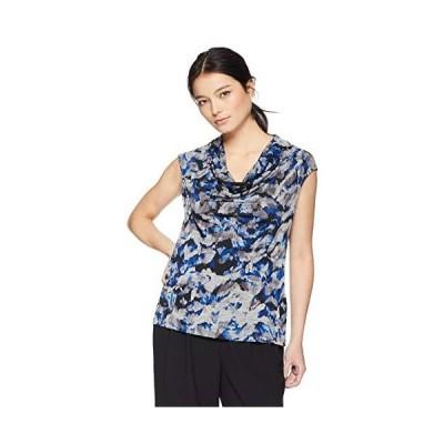 Kasper Women's Petite Cowl Neck Cap Sleeve Printed TOP, Royal Multi, P