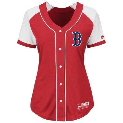 マジェスティック レディース Tシャツ トップス Boston Red Sox Majestic Women's Plus Size Fashion Replica Jersey