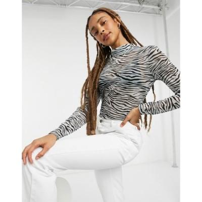 オンリー レディース カットソー トップス Only mesh top with high neck in zebra print Zebra print