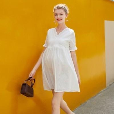マタニティドレス 結婚式 お呼ばれ ワンピース パーティードレス 結婚式 二次会 ワンピース ドレス 透け感レース  ホワイト フォーマル