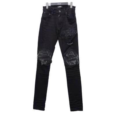 AMIRI 「MX1 leather patch jeans」クラッシュバイカーデニムパンツ ブラック サイズ:28 (新宿店ANNEX) 21031