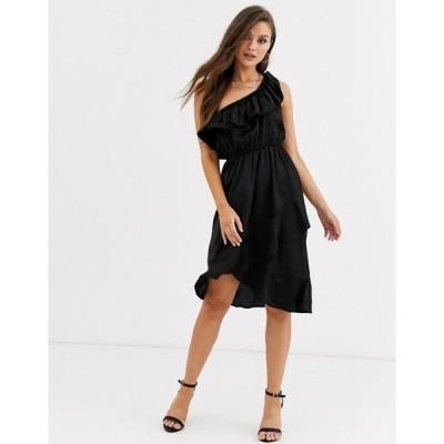 アックスパリ レディース ワンピース トップス AX Paris ruffle one shoulder satin dress in black