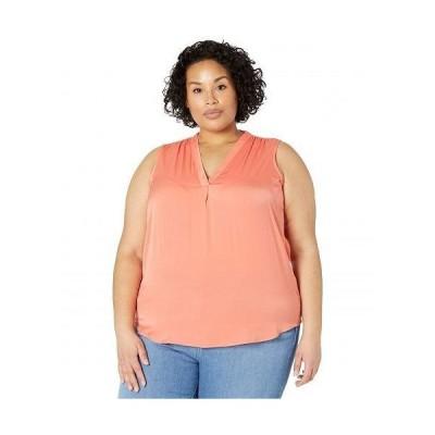 Vince Camuto ヴィンスカムート レディース 女性用 ファッション ブラウス Plus Size Sleeveless V-Neck Rumple Blouse - Bright Coral