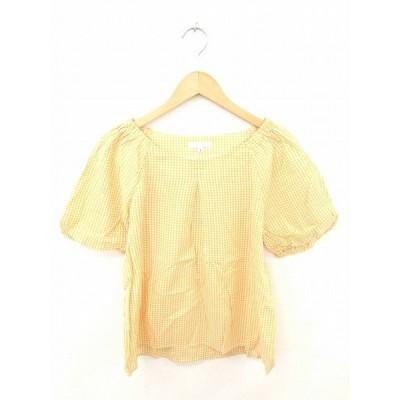 【中古】ザショップティーケー THE SHOP TK カットソー Tシャツ 丸首 チェック 綿 半袖 L からし色 白 マスタード ホワイト /TT23 レディース 【ベクトル 古着】