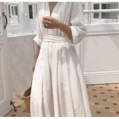 シャツワンピース ロング 大きいサイズ 白 韓国 ファッション Vネック ウエストマーク フレア ハイウエスト リボン ゆったり カジュアル