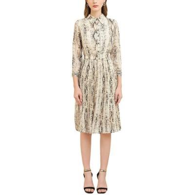 バーリコ ワンピース トップス レディース BURRYCO Midi Dress beige and brown snake print