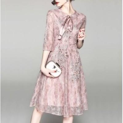 パーティーワンピース 可愛い リボン レース 2色 刺繍 ラウンドネック 七分袖 膝丈 Aライン ドレス フレア ピンク キュート