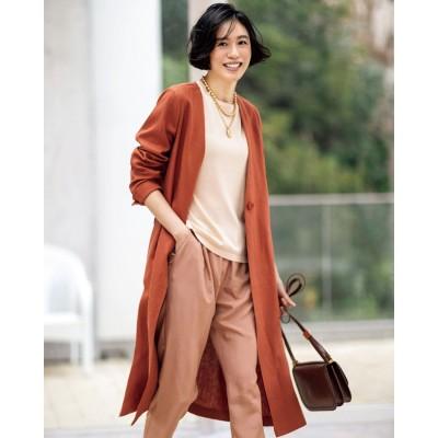 ドゥクラッセ DoCLASSE 6番麻・ノーカラー羽織りコート (ダルオレンジ)