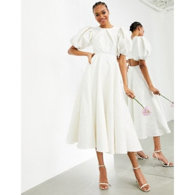 エイソス ASOS EDITION レディース パーティードレス ウェディングドレス Bridget Jacquard Puff Sleeve Wedding Dress With Cut Out Back アイボリー