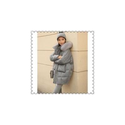 ダウンジャケットレディースロング可愛いファーフードダウンコートアウター大きいサイズ冬防寒服着痩せ