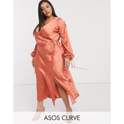 エイソス レディース ワンピース トップス ASOS DESIGN Curve satin wrap front midi dress