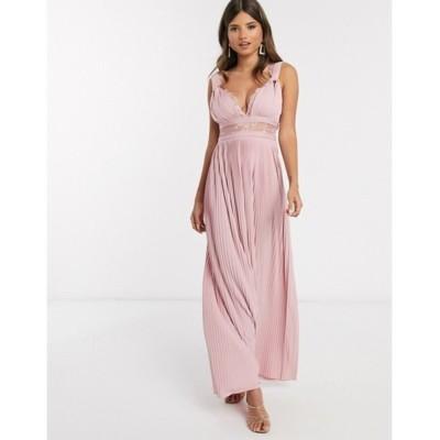 エイソス レディース ワンピース トップス ASOS DESIGN Premium twist strap lace insert maxi dress in soft pink