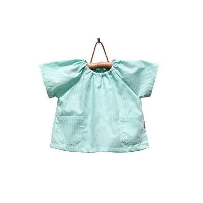 cottonNINA 子供スモック 半袖 90センチ 乳幼児用 ASH90 (ミントグリーンギンガム)