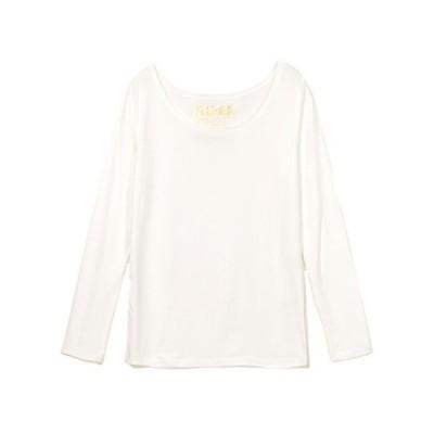 レディース用長袖Tシャツ 発熱あったかインナー プラズマヒート 肌着 1167 (M?L, オフホワイト)