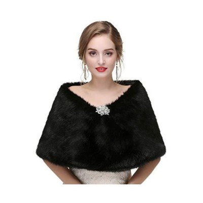 (新品) Yalice Women's Wedding Faux Fur Shawl and Wrap Bridal Fur Stole Cape Fur Scarf for Bride and Bridesmaids (Black)