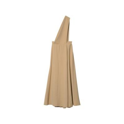 リエディ Re:EDIT [低身長向けSサイズ対応]ワンショルダーフレアジャンパースカート (ベージュ)