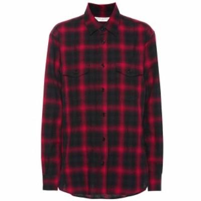 イヴ サンローラン Saint Laurent レディース ブラウス・シャツ トップス Plaid cotton shirt Black/Red Check