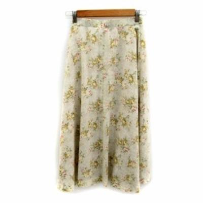 【中古】メイクレット MAKELET スカート フレア ロング丈 花柄 マルチカラー M ライトベージュ /SY8 レディース