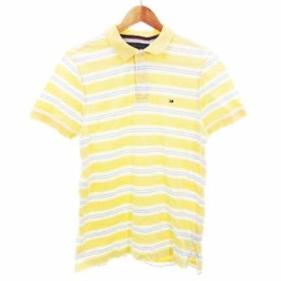 【中古】トミーヒルフィガー TOMMY HILFIGER ポロシャツ カットソー 半袖 コットン ボーダー S 黄 白 トップス メンズ
