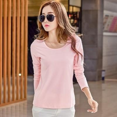 レディース Tシャツ 長袖 無地 TKFIRSH8963 大きいサイズ トップス Tシャツ 体型カバー スリム ピンク ブラック レッド ホワイト オー