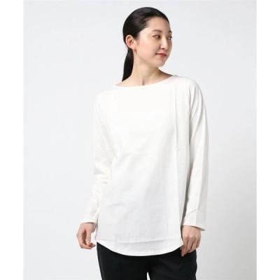 tシャツ Tシャツ コットン100%裾ラウンド長袖ボートネックカットソートップス