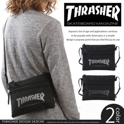 メール便対応 THRASHER スラッシャー サコッシュ ショルダーバッグ THRSG114 斜めがけバッグ ワンショルダー レディース メンズ 黒 サブバッグ