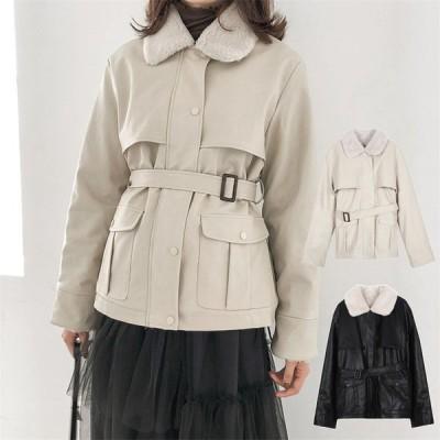 2020新作 ライダースジャケット ムートンコート 革ジャン レザージャケット 裏起毛 レディースファッション 防風 防寒 暖かい ブラック ベージュ