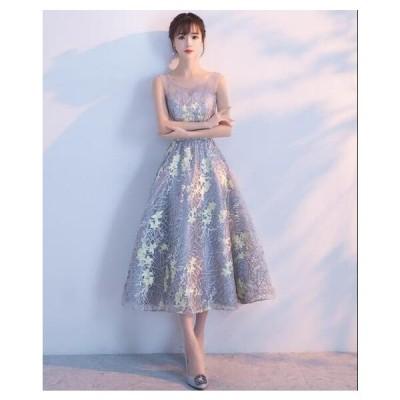 二次会 花嫁ドレス イブニングドレス 可愛い 着痩せ お呼ばれ きれいめ レディースドレス ワンピース 刺繍付き ミドルドレス 演奏会ドレス ウェディングドレス