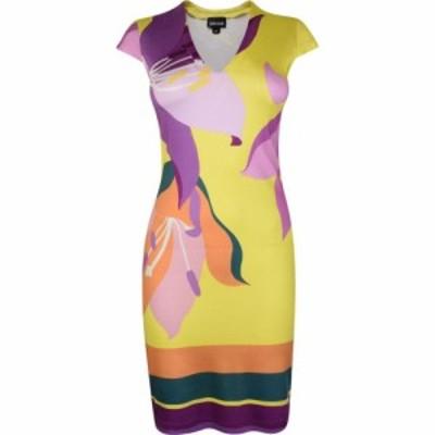 ジャスト カヴァリ JUST CAVALLI レディース ボディコンドレス Vネック ワンピース・ドレス V Neck Bodycon Dress Yellow S