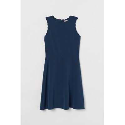 H&M - スカラップエッジワンピース - ブルー