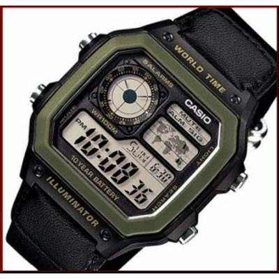 CASIO【カシオ/スタンダード】デジタル 世界地図表示ワールドタイム メンズ腕時計 ブラックナイロンベルト 海外モデル AE-1200WHB-1B(送