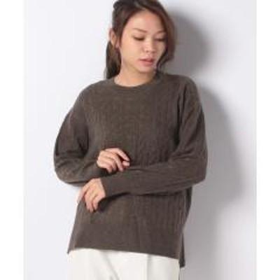 Leilian(レリアン)【my perfect wardrobe】カシミヤケーブルニット