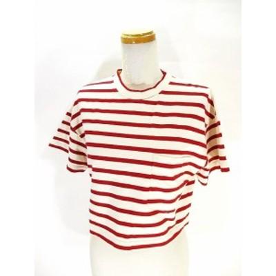 【中古】キワンダ kiwanda 美品 Tシャツ カットソー 半袖 ボーダー ショート丈 白 赤 ホワイト レッド ONE 【Z】 レディース
