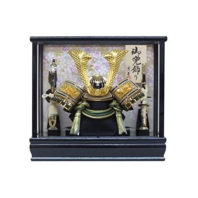 五月人形-ケース入り-間口33×奥行23×高さ30cm-8号中鍬角兜ケース飾り(小)-YN20380GKC