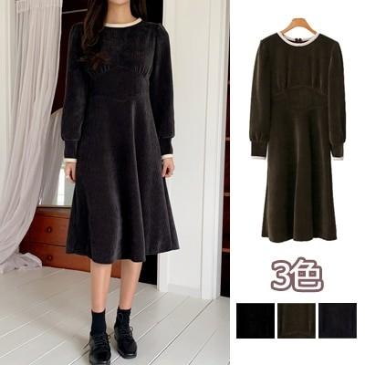 【ENVYLOOK】👗韓国ファッションカジュアルECサイト1位 ENVYLOOK💖レーステープ配色ベロアコーデュロイワンピース💖3COLOR 送料無料