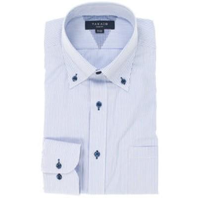 形態安定抗菌防臭スリムフィットボタンダウン長袖ビジネスドレスシャツ