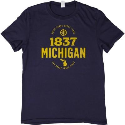 ホーム ステート アパレル Home State Apparel メンズ Tシャツ トップス Michigan 1837 T-Shirt Navy/Maize Ink