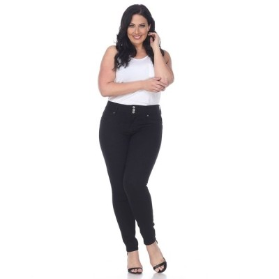 ホワイトマーク デニムパンツ ボトムス レディース Plus Size Super Stretch Denim Black