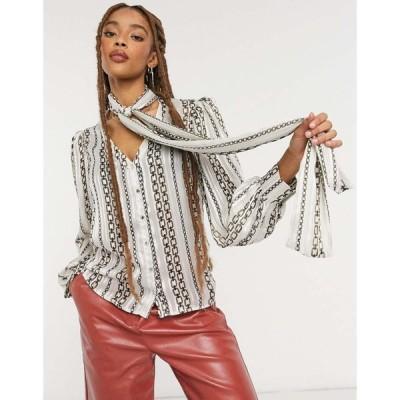 モーガン レーン Morgan レディース ブラウス・シャツ トップス tie neck blouse in cream chain print マルチカラー