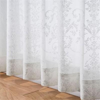 2倍ヒダレースカーテン(立体感あるオーナメント柄)/ホワイト/幅100×丈68cm(2枚組)
