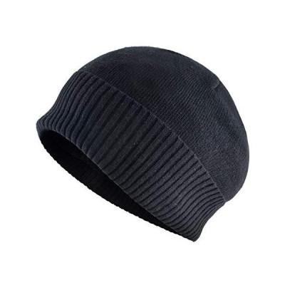 KISSBAOBEI Winter Skullies Beanies Men Warm Hat Set Women Add Velvet Knitting Cap (A86-BK)【並行輸入品】
