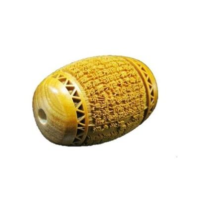 般若心經 縦穴 柘植玉 浮彫 彫刻ビーズ 樽型 特大樽型 約30×20mm 【穴あり一粒売りビーズ】