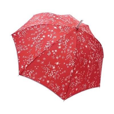 マサキ 雨傘 レディース 長傘(60cm) フラワーシャワープリント 花柄 161071 レッド