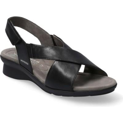 メフィスト MEPHISTO レディース サンダル・ミュール ウェッジソール シューズ・靴 Phara Wedge Sandal Black Smooth Leather